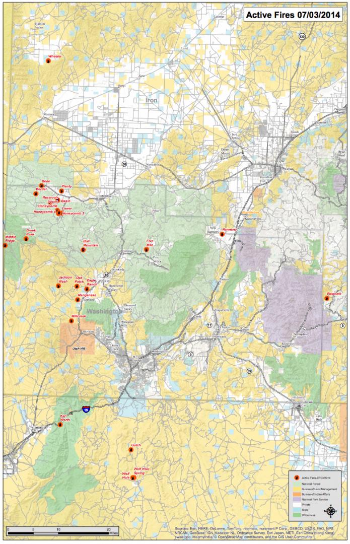 Over 20 Wildland Fires Blaze In Color Country Public