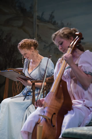 "Cassandra Bissell, left, as Elinor Dashwood and Eva Balistrieri as Marianne Dashwood in the Utah Shakespeare Festival's 2014 production of ""Sense and Sensibility,"" Cedar City, Utah, date not specified 
