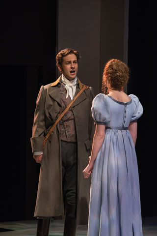 "Quinn Mattfeld, left, as Edward Ferrars and Cassandra Bissell as Elinor Dashwood in the Utah Shakespeare Festival's 2014 production of ""Sense and Sensibility,"" Cedar City, Utah, date not specified 