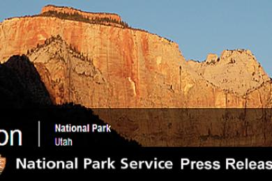 Zion National Park press release