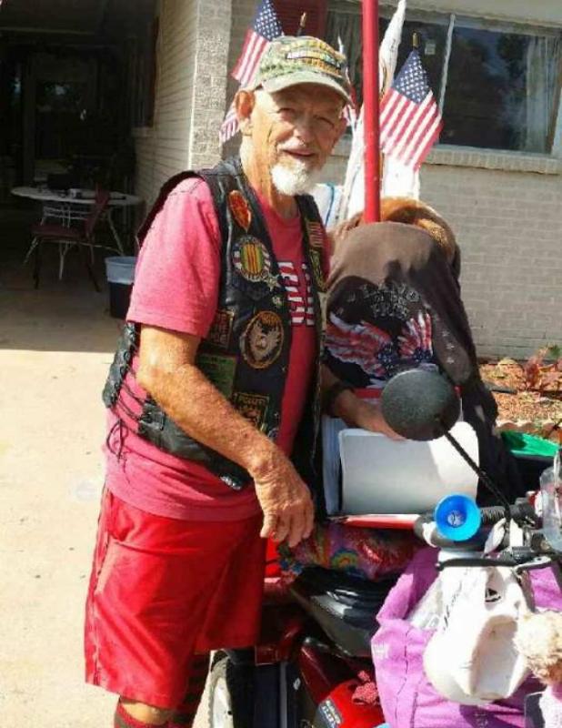 Vietnam War veteran Raymond M. Black packs up to embark from Brownwood, Texas, July 12, 2014   Photo courtesy of Danny Greathouse, St. George News