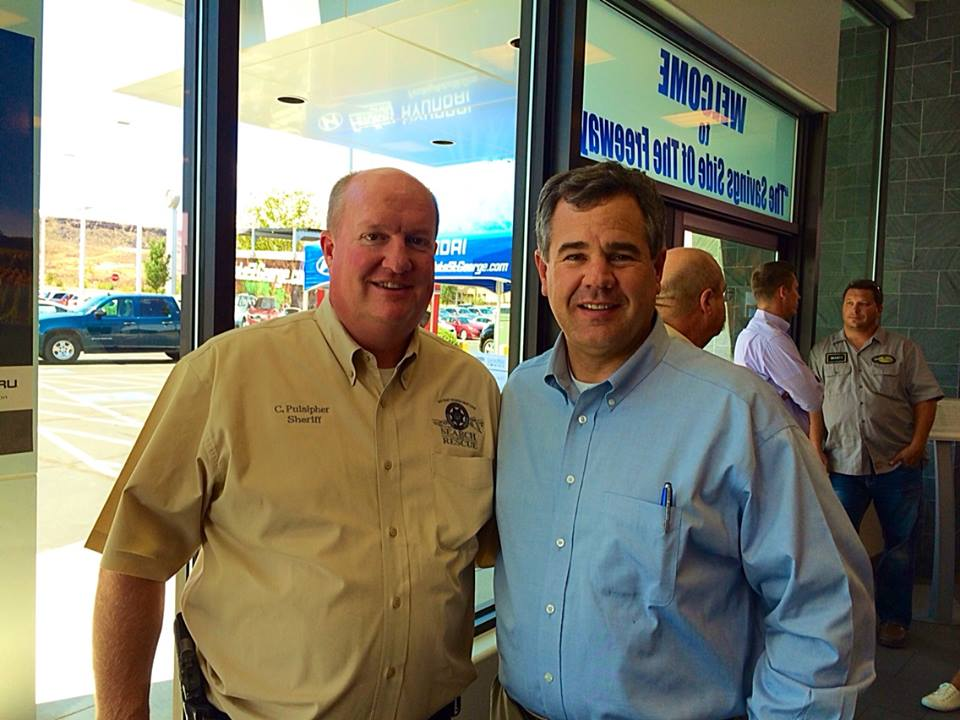 St. George City Mayor Jon Pike and Washington County Sheriff Cory Pulsipher at Findlay Subaru, St. George, Utah, July 31, 2014 | Photo by Kimberly Scott, St. George News