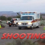 Responders attend to a shooting in Leeds, Utah, July 17, 2014 | Photo by T.S. Romney, St. George News