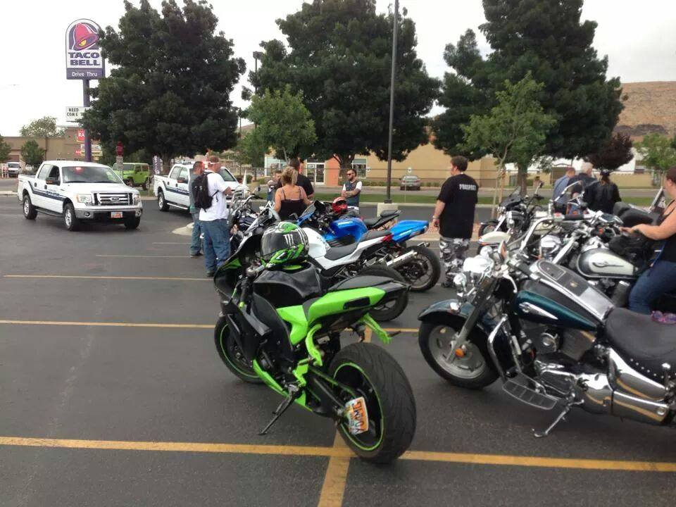 Hurricane Police speak to bikers after they are stopped. Hurricane City, Utah. July 26, 2014 | Photo provided by  Katie Mandel.