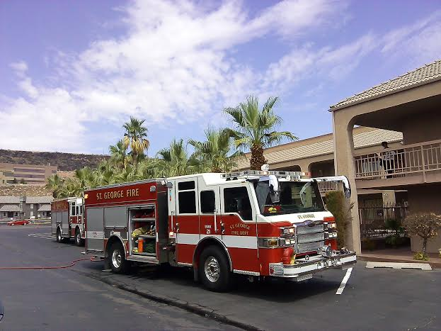 St. George fire truck  at Claridge Inn, St. George, Utah, July 5, 2014 | Photo by Aspen Stoddard, St. George News