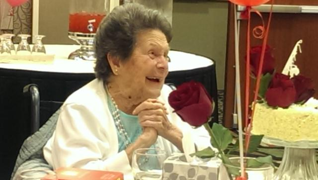 Cornelia Ashby Fleming smiles at her 100th birthday party at the Courtyard Marriott, St. George, Utah, July 5, 2014 | Photo courtesy of Emilee Marie Ivey, St. George News