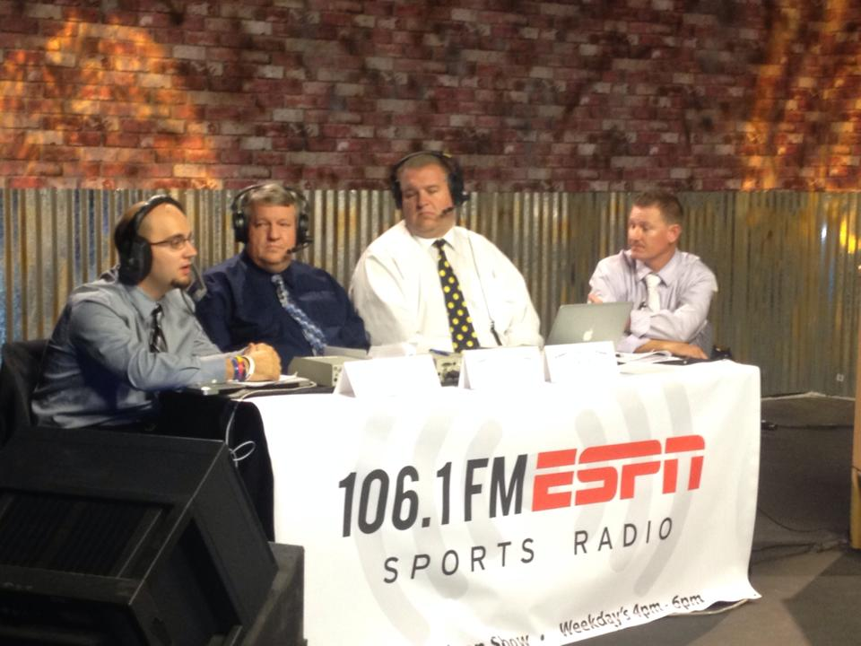 TheTriplecast broadcast team, l to r, Patrick Blake, Mike McGary, Andy Griffin and Devin Dixon.