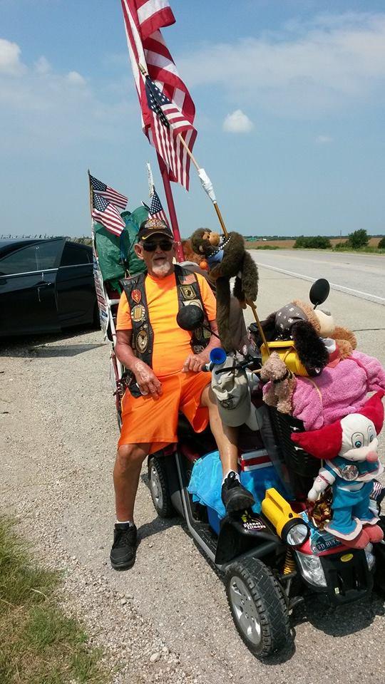 Raymond M. Black on the road, Groesbeck, Texas, July 23, 2014   Photo courtesy of Raymond M. Black, St. George News
