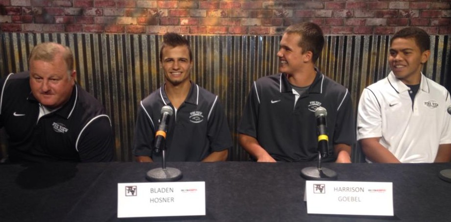 At 3AA South Media Day, l to r, Coach Todd Shaw, Bladen Hosner, Harrison Goebel and Ray Fiame.