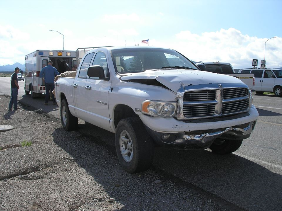 The Dodge truck after getting the collision at the intersection of state Route 18 and Main Street in Enterprise, Utah, Aug. 14, 2014 | Photo courtesy of Utah Highway Patrol, St. George News