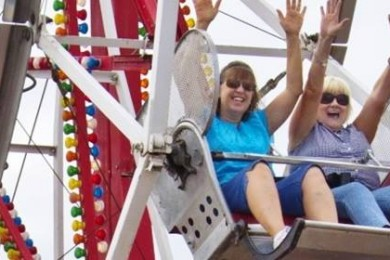 Susan Barker and Carol Duhamell, left to right, ride the Ferris wheel at the Iron County Fair, Parowan, Utah, Aug. 31, 2013 | Photo by John Teas, St. George News