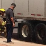 St. George Fire crews attend to semitruck fire, St. George Utah, Aug. 26, 2014 | Photo by Holly Coombs, St. George News
