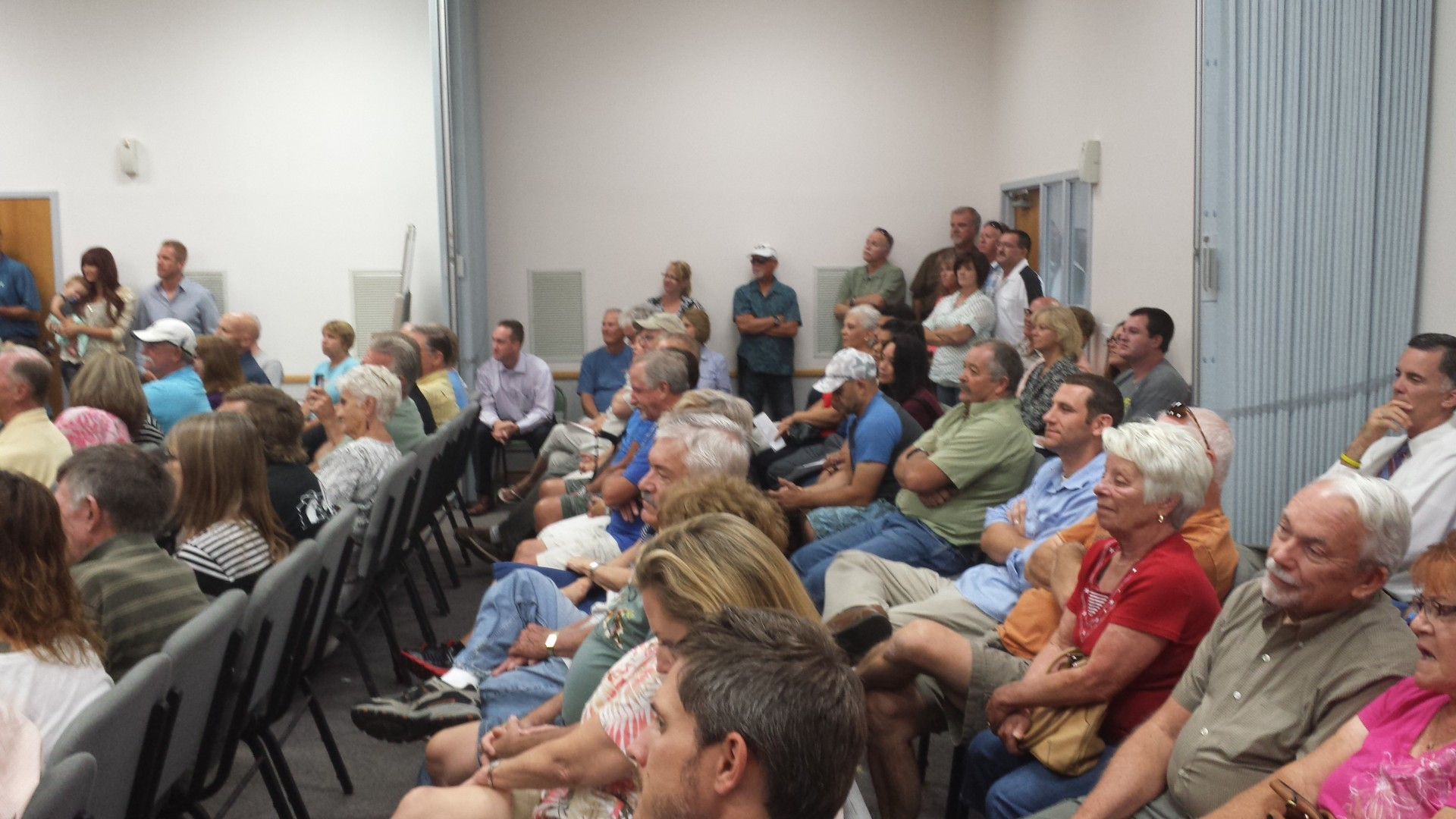 Dixie Springs residence show up in force, at Hurricane City Council. Hurricane City, Utah. August 21, 2014 | Photo by T.S Romney St. George News