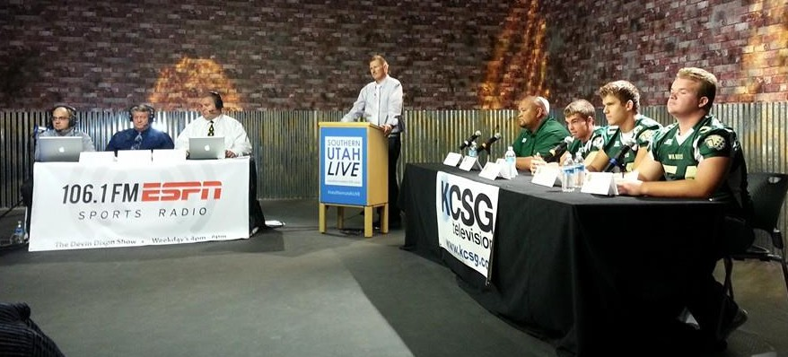 The Snow Canyon Warriors address local media during the 3AA South Media Day last week.