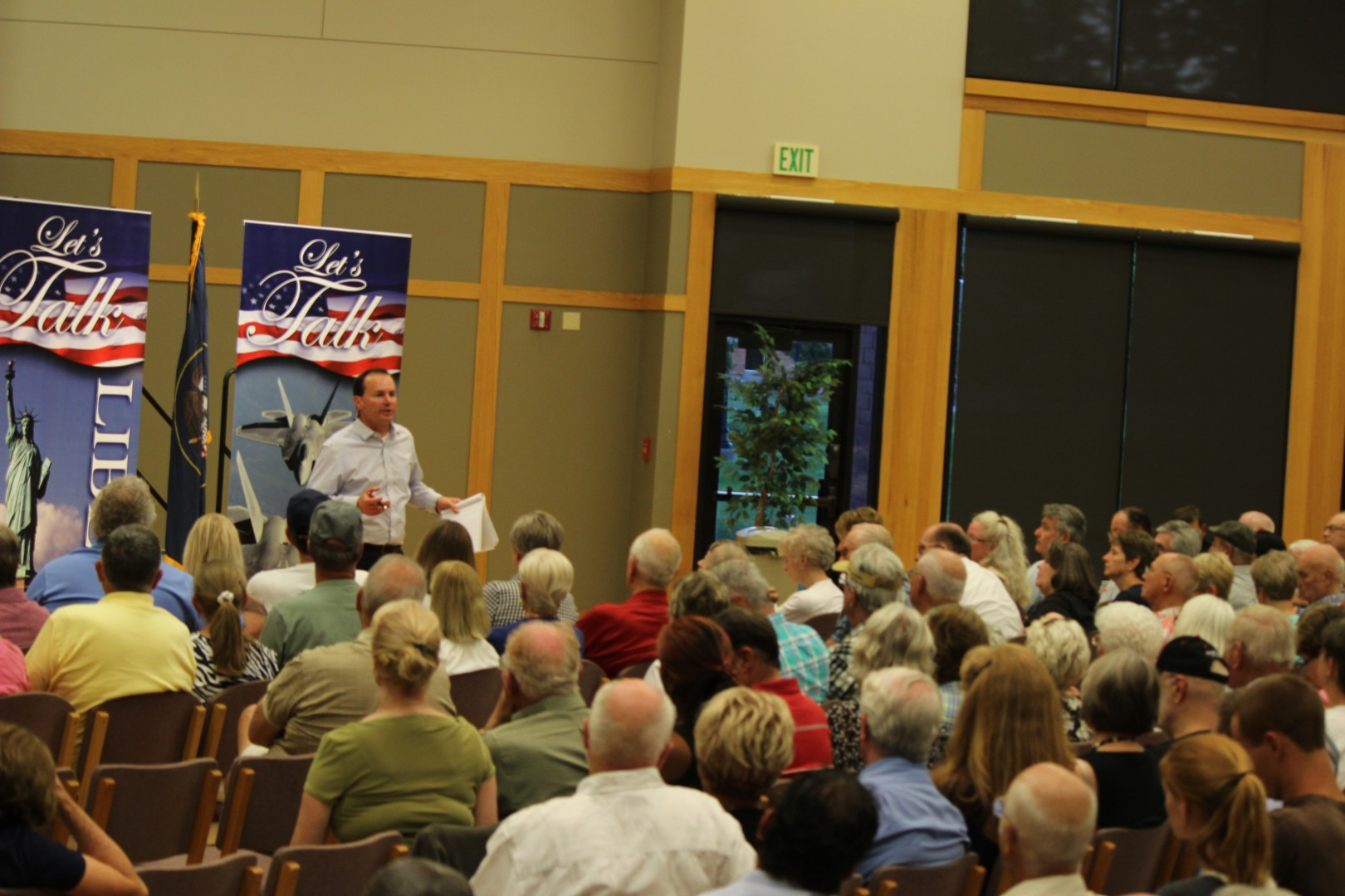 Sen. Mike Lee speaks to the 465 audience members that attended the town hall meeting at Dixie Statue University in St. George on Aug. 29, 2014   Photo by Devan Chavez, St. George News.