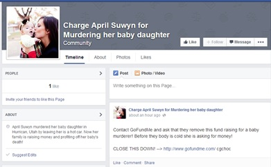 Screen shot of Facebook page taken Aug. 5, 2014