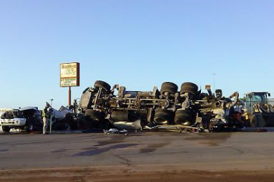 The aftermath of a collision between a cement pump truck and a full-size pickup truck near 1275 East on Red Hills Parkway, St. George, Utah, Aug. 27, 2014 | Photo by Aspen Stoddard, St. George News