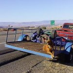 The red Toyota Tacoma and trailer sit on the side of the road on Washington Parkway Exit off Interstate 15, Washington, Utah, Aug. 29, 2014 | Photo by Aspen Stoddard, St. George News