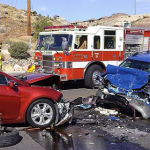 The aftermath of the head-on collision just south of Parkside Circle on Dixie Drive in St. George, Utah, Aug. 20, 2014 | Photo by Aspen Stoddard, St. George News