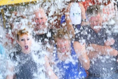 Mayor Ken Neilson (second from the right) and others take the ALS Ice Bucket Challenge, Aug. 26, 2014 | Photo courtesy of Washington City