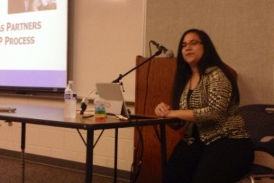 Esperanza Reyes leads an informational meeting about the IEP process at a Southern Utah Autism Support Group educational meeting, St. George, Utah, August, 19, 2014 | Photo by Hollie Reina