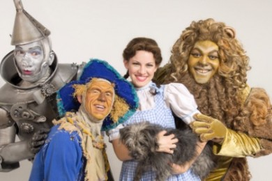 """L-R Todd Nielson, Mark Reis, Kari Yancy and Trevor Dion Nicholas as the Tin Woodman, Scarecrow, Dorothy and the Cowardly Lion in Tuacahn's production of the """"Wizard of Oz,"""" St. George, Utah, Summer 2014 