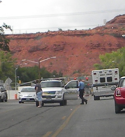 St. George Police, and Gold Cross Ambulance respond to a report of a stabbing. 250 E 400 S St. George, Utah. Aug 8, 2014 | Photo by T.S Romney St. George News