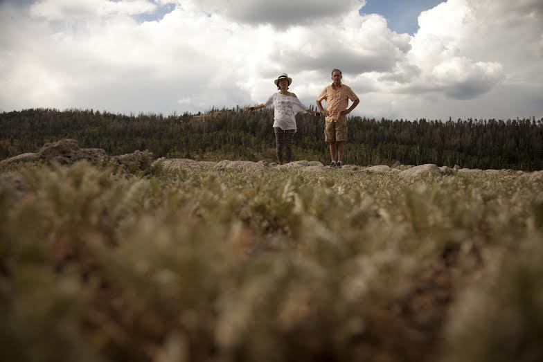 """Mitsuyo Miyazaki, the film's director, and Kay Kay Andersen, choreographer, stand in an open field while scouting for possible locations for production of """"Where We Begin.""""   Photo courtesy of Mitsuyo Miyazaki Productions, St. George News"""