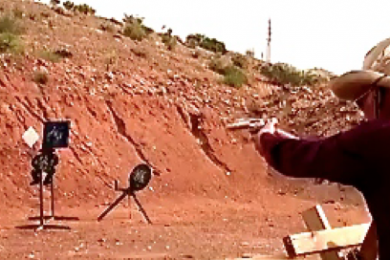 Cowboy shooting competition, Utah Practical Shooting Range Complex, Hurricane, Utah, April 26, 2014 | Image from video by Samantha Tommer, St. George News
