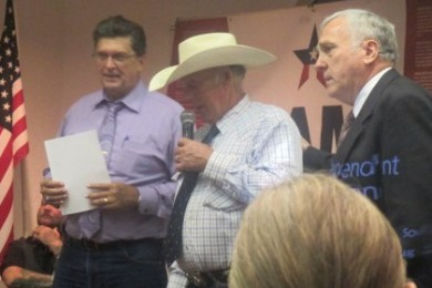 (L-R) Sheriff Richard Mark, Cliven Bundy, and Wayne Hill. Mack and Bundy spoke at the Independent American Party's summit in St. George at the Lexington Hotel. Hill is the party's candidate for Utah's 2nd Congressional District, St. George, Utah, Aug. 2, 2014 | Photo by Mori Kessler, St. George News