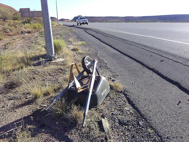 After being retrieved, the wheelbarrow sits on the side of the road on Washington Parkway Exit off Interstate 15, Utah, Aug. 29, 2014 | Photo by Aspen Stoddard, St. George News