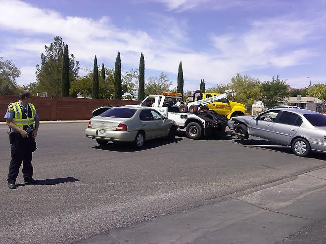 The aftermath of the accident that occurred at 1100 North Dixie Downs Road, St. George, Utah, Aug. 29, 2014 | Photo by Aspen Stoddard, St. George News