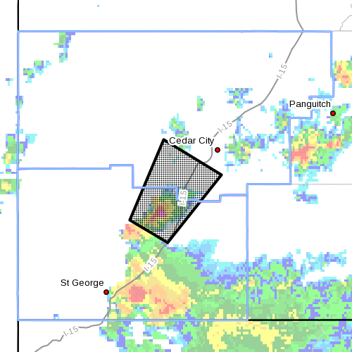 Dots denote area subject to severe thunderstorm warning at 4:20 p.m. Southern Utah, Aug. 18, 2014 | Image courtesy of National Weather Service, St. George News