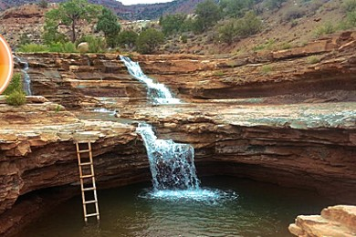 A magical swimming hole in the greater Zion National Park area known as Toquerville Falls, LaVerkin Creek, Utah, August 10, 2014 | Photo by Drew Allred, St. George News