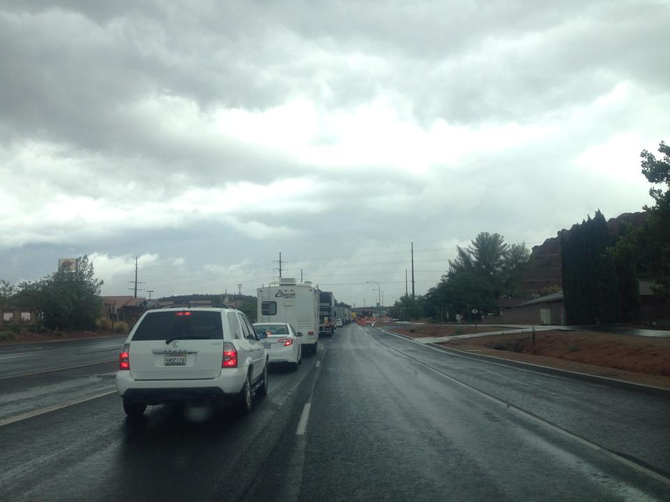 Bluff Street just north of Sunset, heading out of St. George to take the alternate route to Las Vegas. St. George, Utah, 10 a.m. on Sept. 9, 2014   Photo by John Teas, St. George News