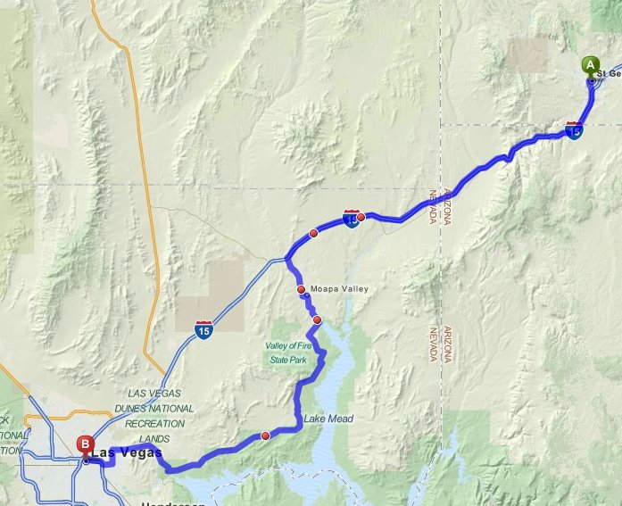 Alternate route around Lake of Fire connecting to Las Vegas, Nevada, Sept. 9, 2014 | Map created in Mapquest, St. George News