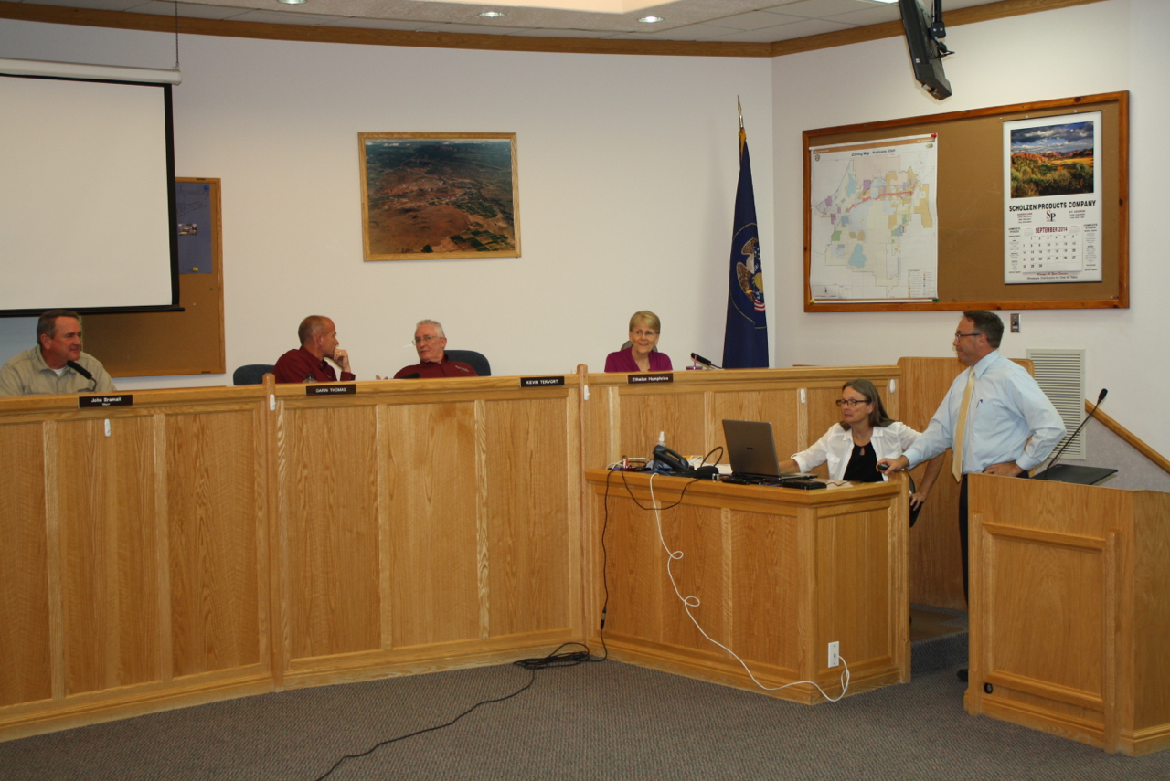 Hurricane High School Booster Club President Mike Butler presents a fundraising proposal to the City Council, Hurricane, Utah, September 18, 2014 | Photo by Reuben Wadsworth, St. George News