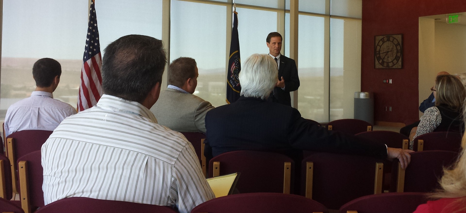 Rep Chris Stewart speaks to local leaders at Dixie State University. DSU, St. George, Utah Sept 24, 2014 | Photo by T.S Romney St. George News