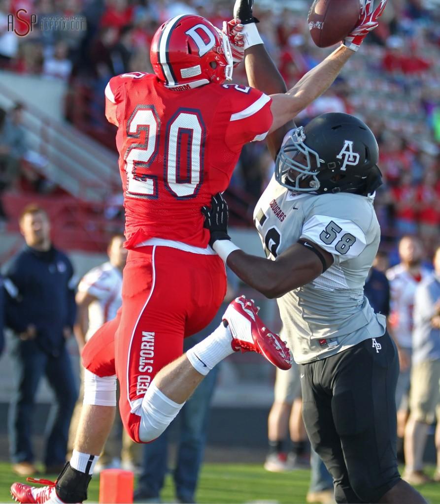 Red Storm receiver Dalton Groskreutz grabs a pass for a touchdown, Dixie State University vs. Azusa Pacific, St. George, Utah, Sept. 27, 2014 | Photo by Robert Hoppie, ASPpix.com, St. George News