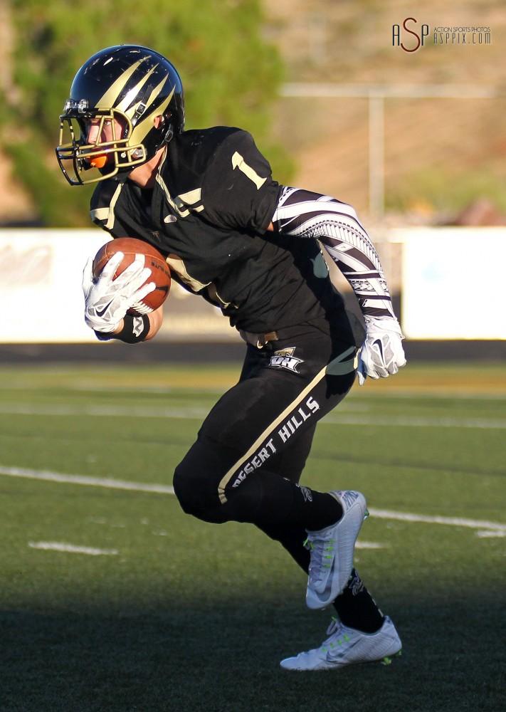 Desert Hills' Bridger Cowdin returns a kickoff, Legacy at Desert Hills, St. George, Utah, September 5, 2014 | Photo by Robert Hoppie, ASPpix.com, St. George News