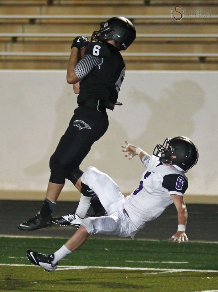 Blake Ence hauls in a deep pass for a touchdown, Lehi at Pine View, St. George, Utah, September 5, 2014 | Photo by Robert Hoppie, ASPpix.com, St. George News