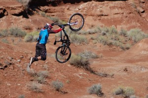 Fourth place finisher Kyle Strait supermans off a jump at Red Bull Rampage, Virgin, Utah, Sept. 29, 2014 | All licensed images are printed with the express permission of Red Bull Media House North America Inc., Photo by Hollie Reina, St. George News
