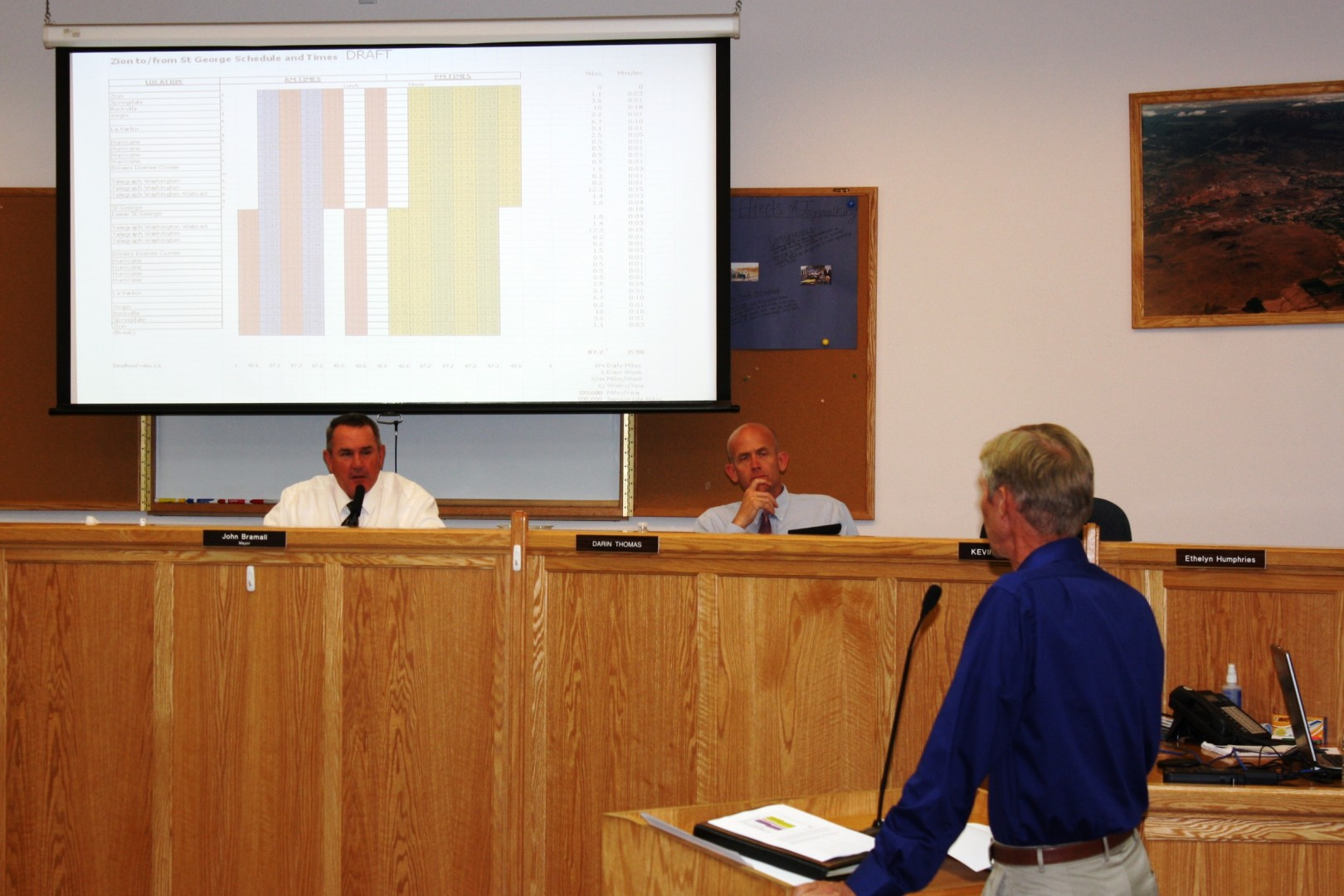SunTran Transit Manager Fred Davies shows the Hurricane City Council a draft of the proposed schedule for a commuter bus route between St. George and Springdale, September 4, 2014 | Photo by Reuben Wadsworth, St. George News