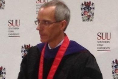 SUU President Scott L. Wyatt answers questions during a press conference after his inauguration ceremony, Cedar City, Utah, Sept. 12, 2014 | Photo by Holly Coombs, St. George News