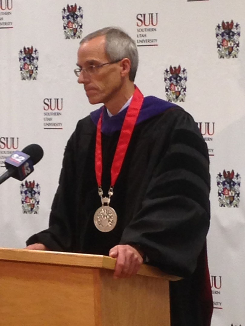 SUU President Scott L. Wyatt answers questions at a press conference following his inauguration, Cedar City, Utah, Sept. 12, 2014 | Photo by Holly Coombs, St. George News