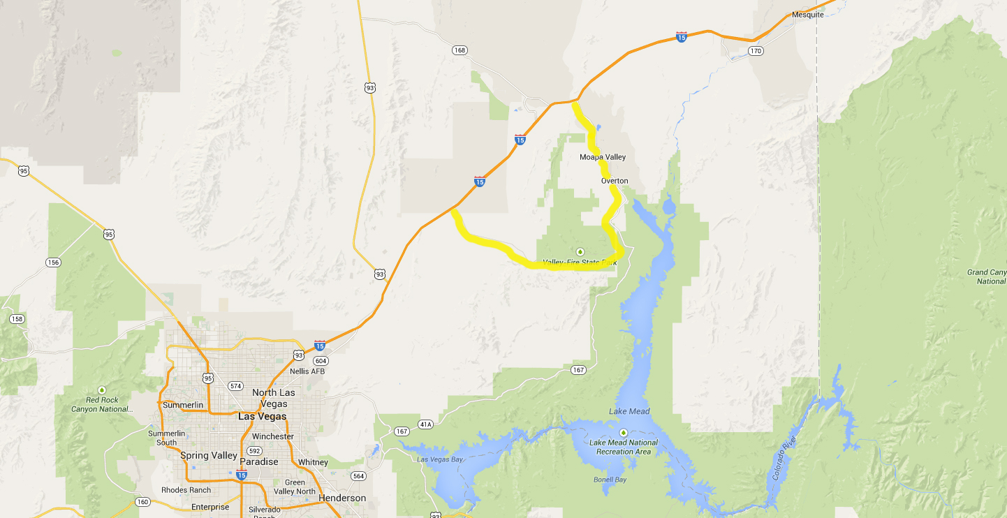 Alternate route around Lake of Fire, Nevada, Sept. 9, 2014 | Map created in Google Maps, St. George News | Click to enlarge