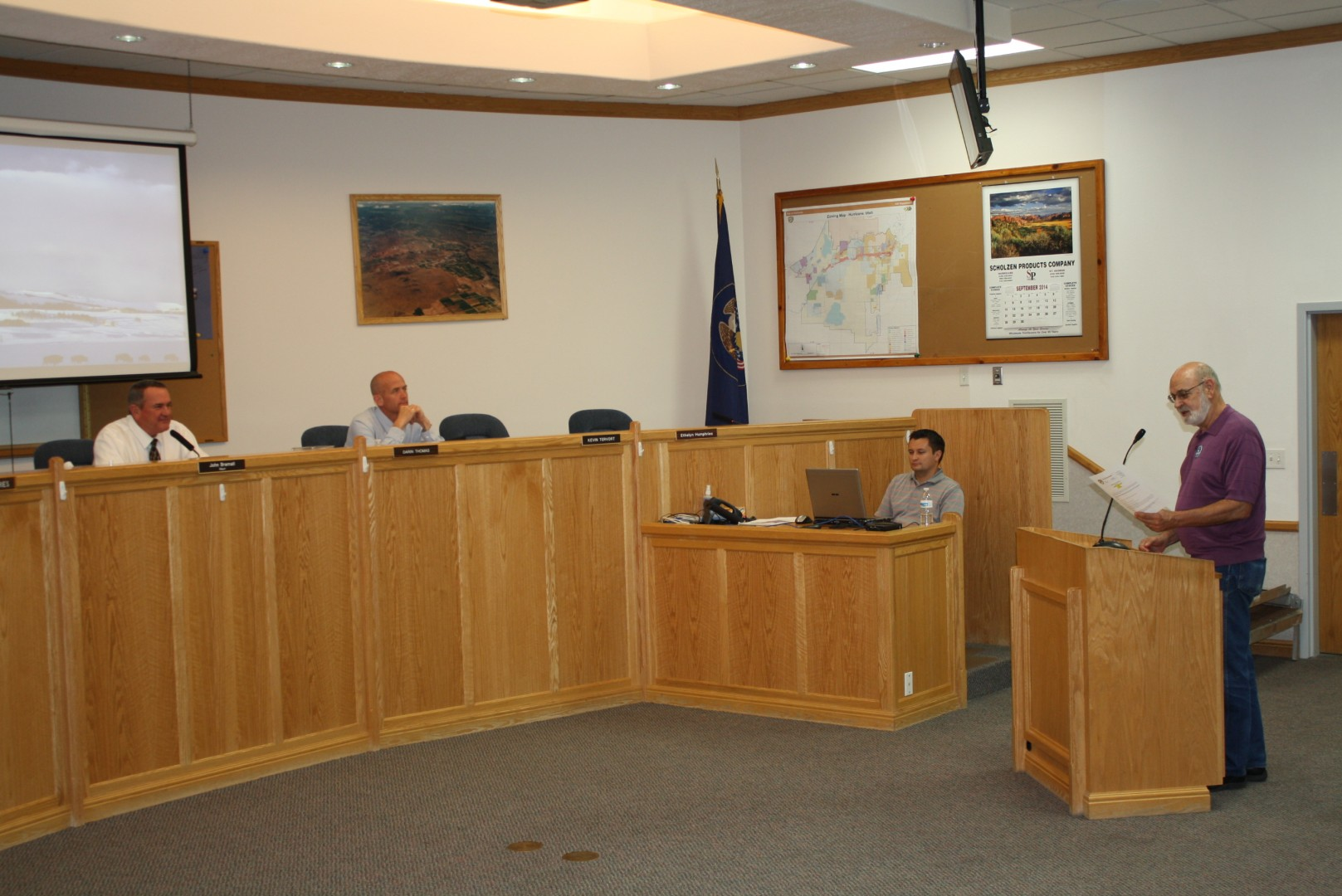 County Commissioner candidate Paul Van Dam introduces himself to the Hurricane City Council, September 4, 2014 | Photo by Reuben Wadsworth, St. George News