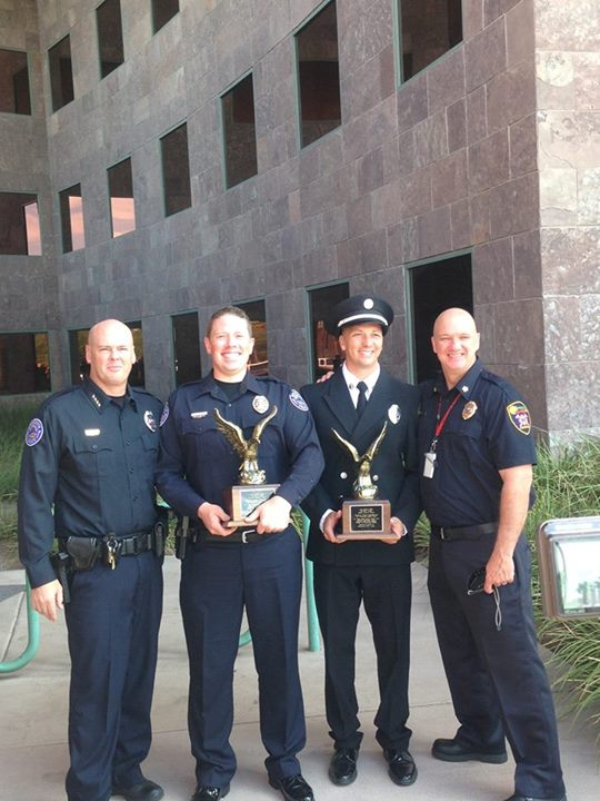 Mesquite Police Officer Wyatt Oliver receives award for interrupting graffiti related crimes | Photo courtesy of Mesquite NV Police, for St. George News