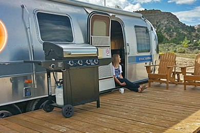 Tami Thomas at the Airstream motel, Shooting Star RV Resort, Escalante, Utah, Sept. 13, 2014   Photo by Drew Allred, St. George News