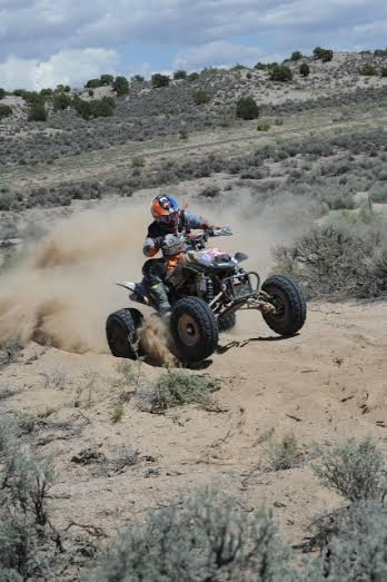 Colt Brinkerhoff, 26, turns a corner on his ATV turning a desert race, date and location unspecified   Photo courtesy of Colt Brinkerhoff, St. George News